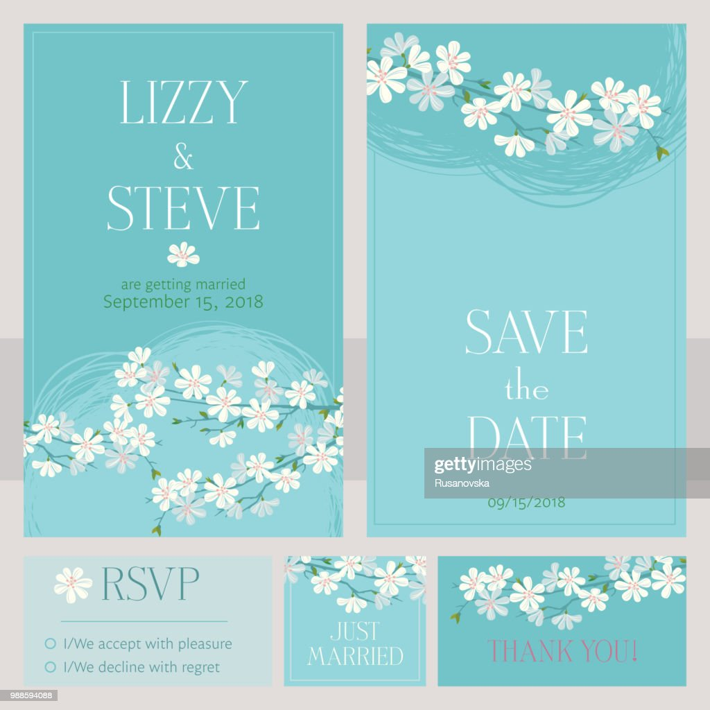 Cherry Blossom Wedding Invitation Cards High Res Vector