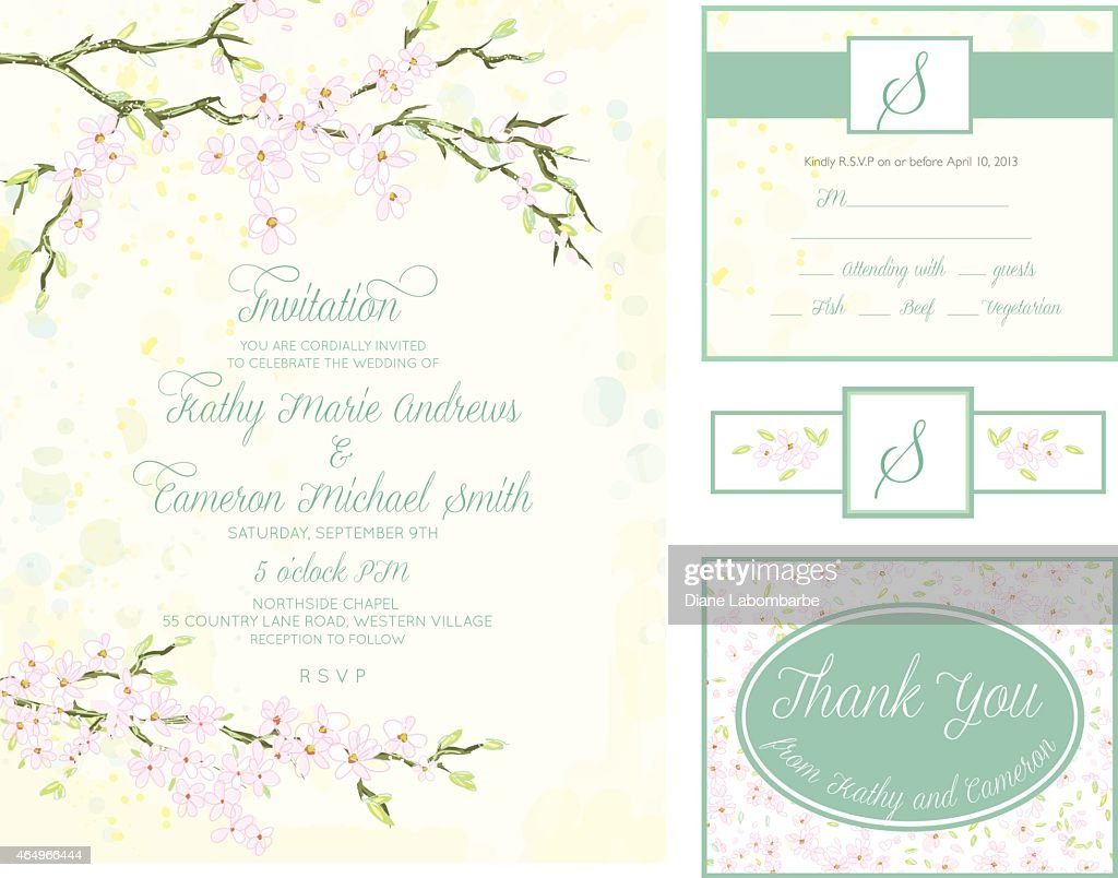 Cherry Blossom Wedding Invitation Set Vector Art | Getty Images