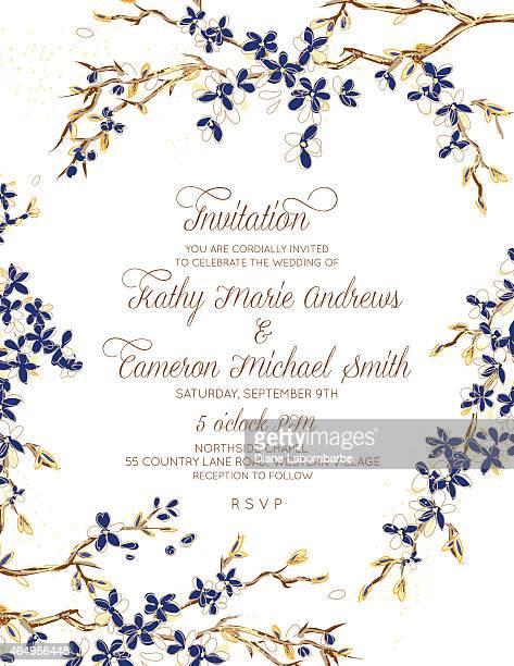 ilustraciones, imágenes clip art, dibujos animados e iconos de stock de cherry blossom invitación de boda set - azul marino