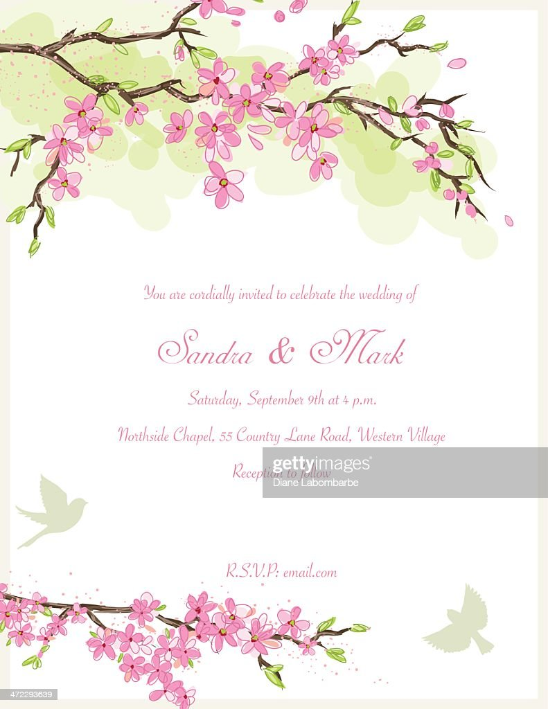 Cherry Blossom Wedding Invitation Vector Art | Getty Images