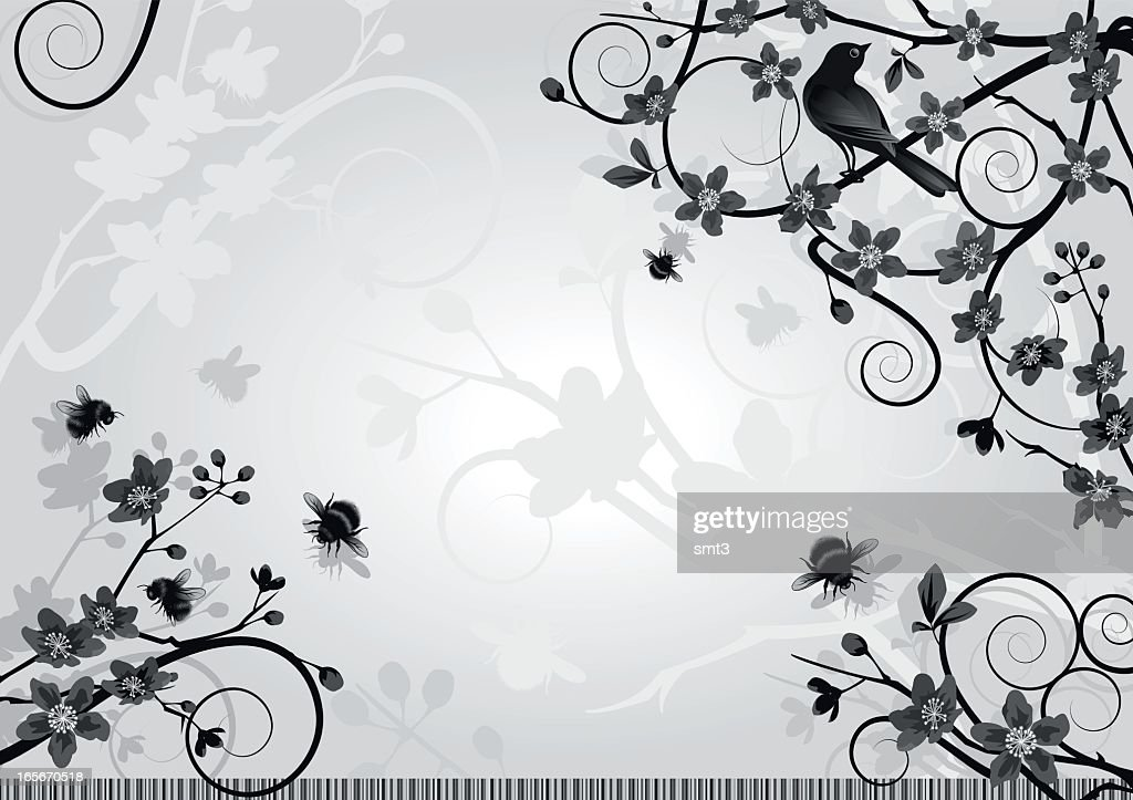 Cherry Blossom with Bird and Bumble Bees