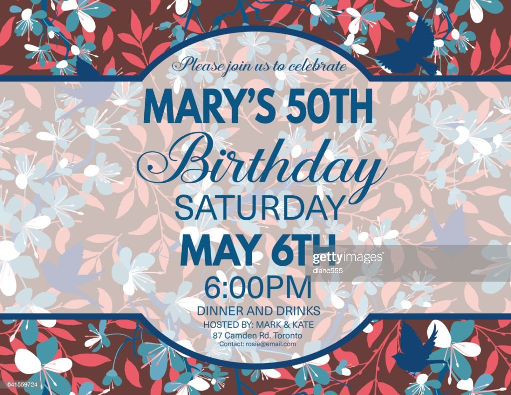 Cherry Blossoms And Sparrows Birthday Party Invitation Template