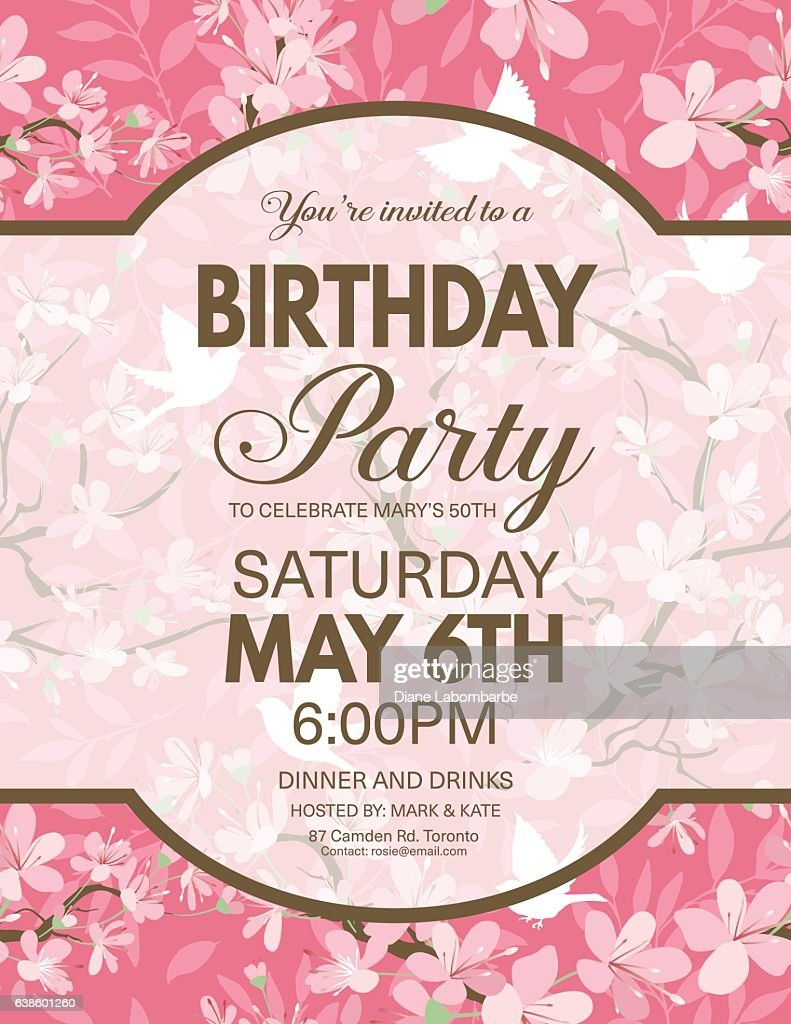Cherry Blossoms And Sparrows Pattern With A Party Invitation
