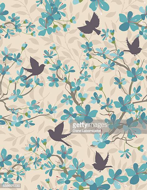 cherry blossoms and sparrows seamless pattern - animal markings stock illustrations, clip art, cartoons, & icons