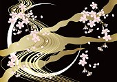 Cherry Blossoms background  Japanese style