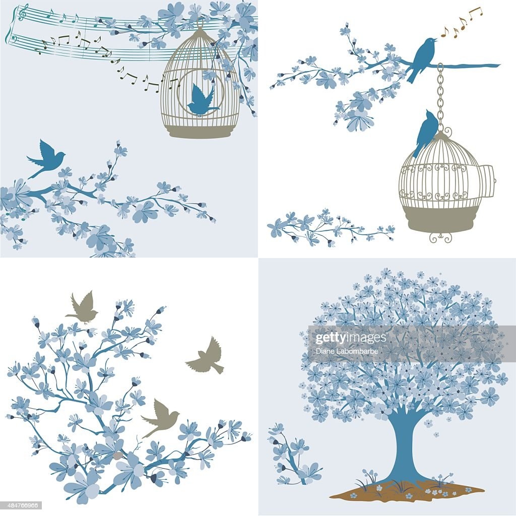 Cherry Blossoms Sakura And Birds Ornaments Set