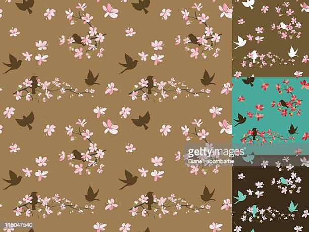 illustrations, cliparts, dessins animés et icônes de cerisiers en fleurs motif sans couture. - cerisier japonais