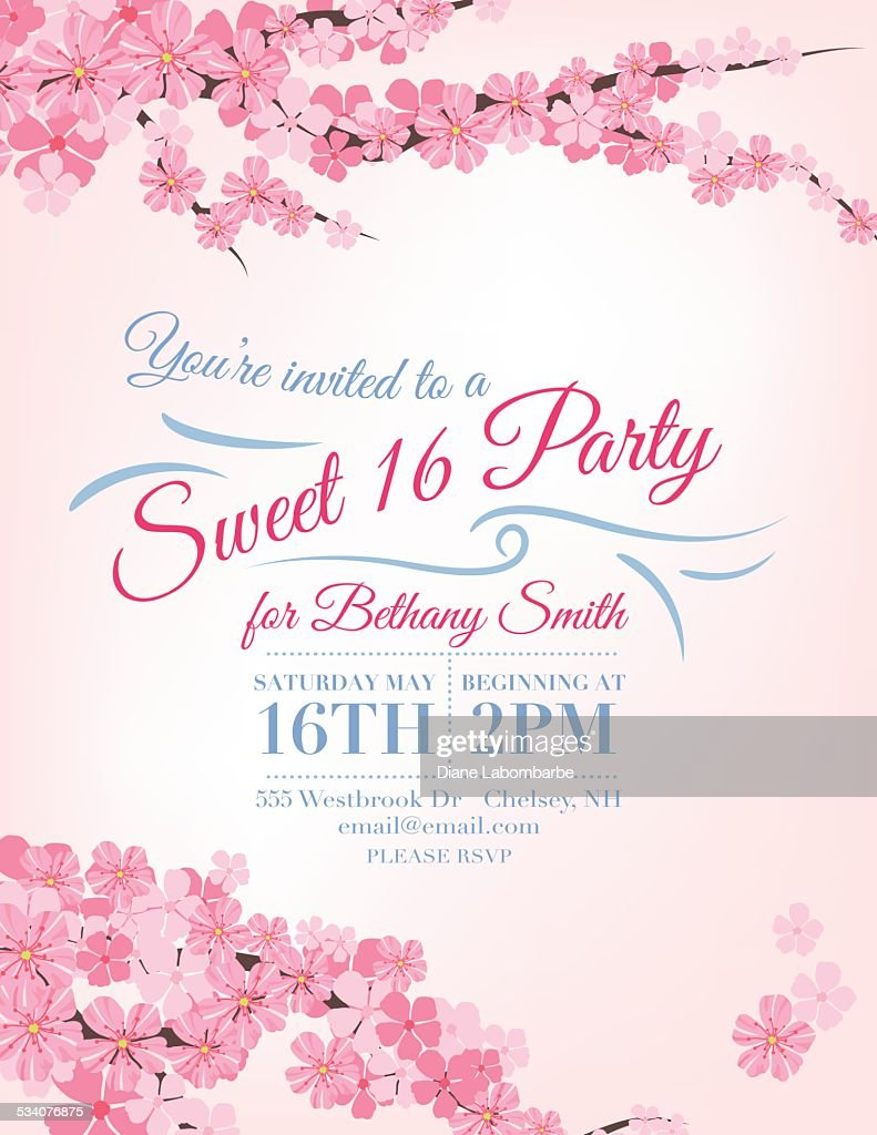 Cherry blossoms sweet 16 birthday party invitation template vector cherry blossoms sweet 16 birthday party invitation template vector art filmwisefo