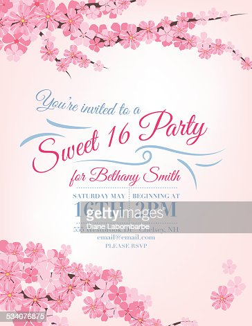 Cherry Blossoms Sweet 16 Birthday Party Invitation Template Vector