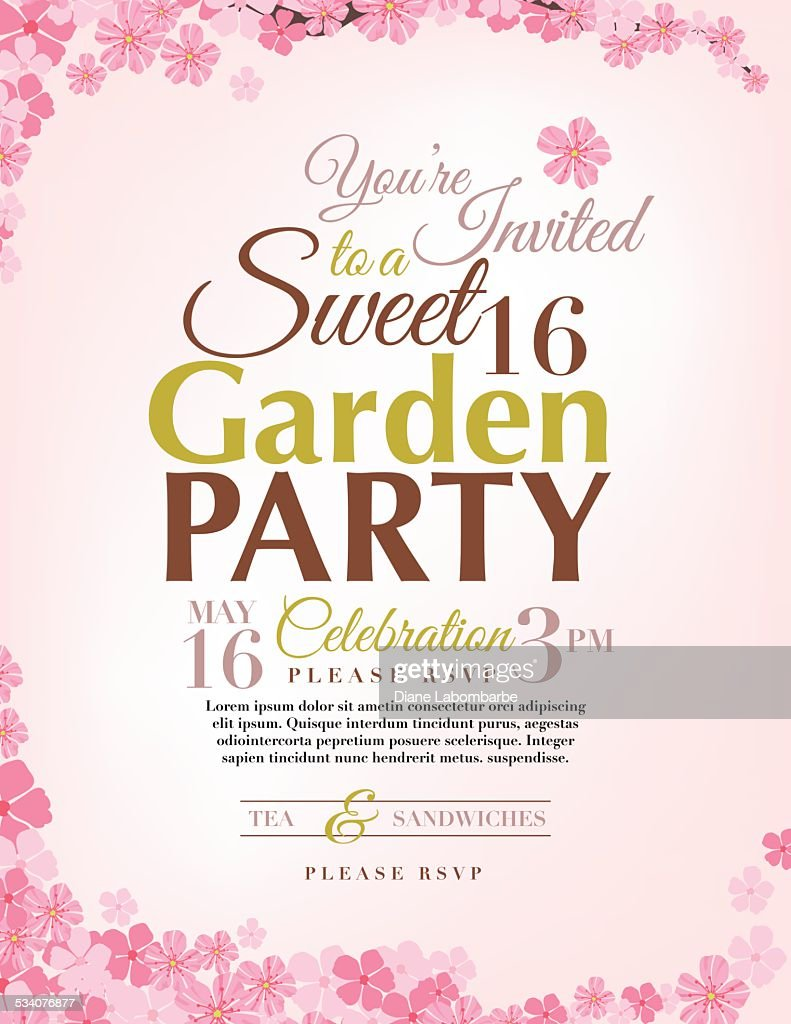 Cherry Blossoms Sweet Birthday Party Invitation Template Vector - Sweet 16 party invitation templates