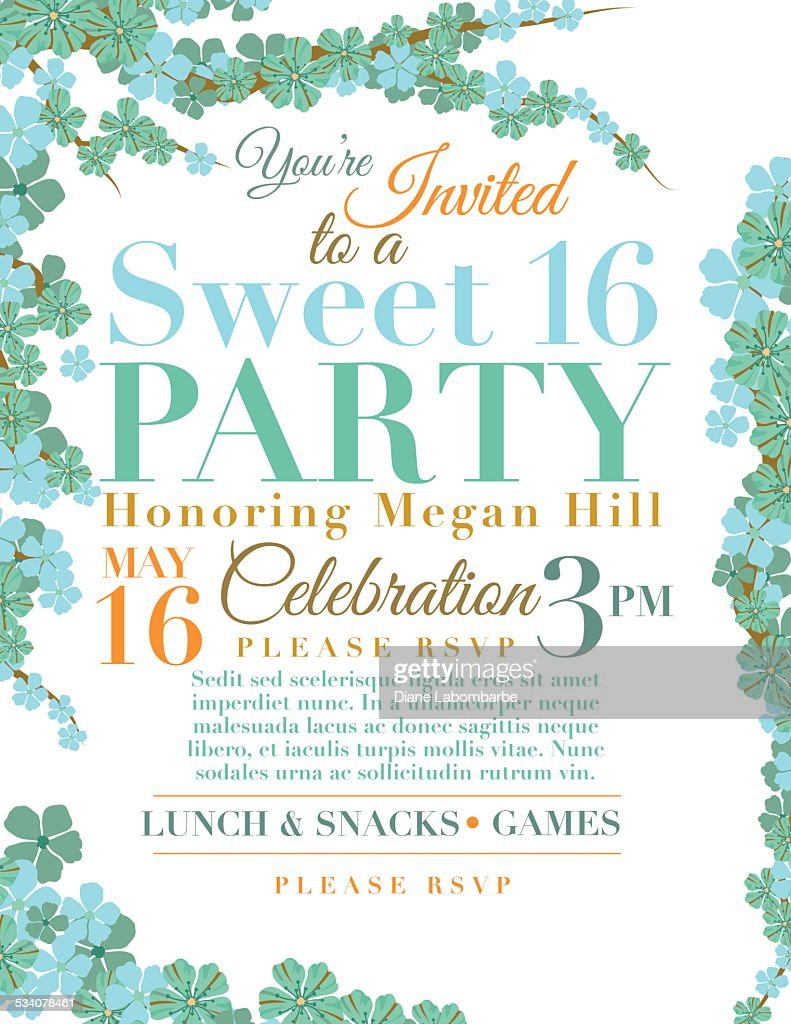 Cherry Blossoms Sweet 16 Birthday Party Invitation Template Vector Art