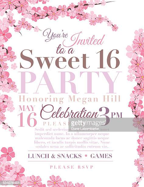 cherry blossoms sweet 16 birthday party invitation template - flowering trees stock illustrations, clip art, cartoons, & icons