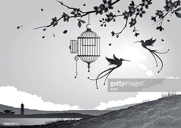 cherry blossoms with birds and cage - birdcage stock illustrations, clip art, cartoons, & icons