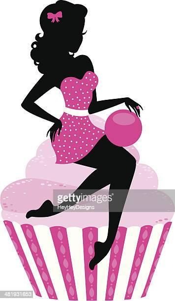 cherry bomb cupcake girl - baked stock illustrations, clip art, cartoons, & icons
