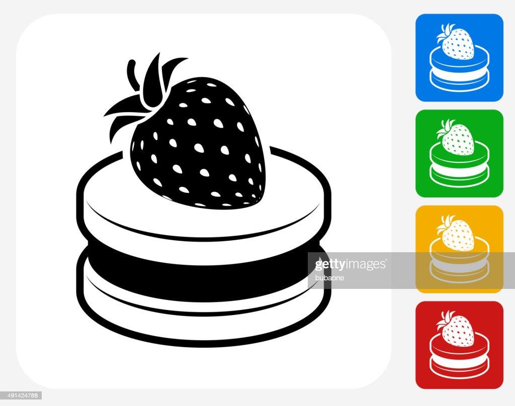 Cherry Cake Icon Flat Graphic Design