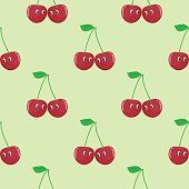 Cherry cartoon seamless pattern vector