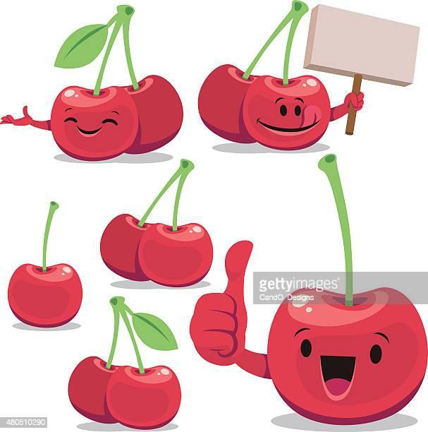 cherry cartoon set c - blank expression stock illustrations