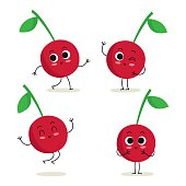 Cherry. Cute fruit character set isolated on white