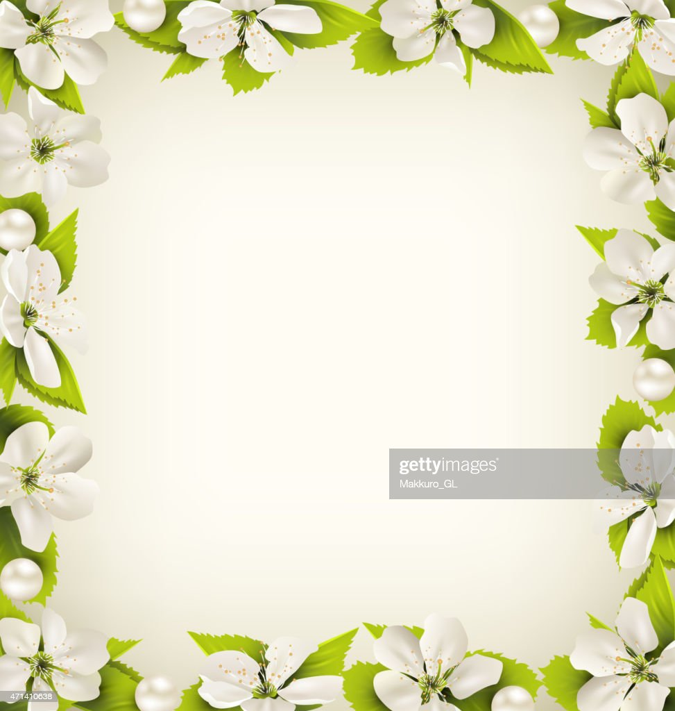 Cherry flowers with pearl beads like frame on beige
