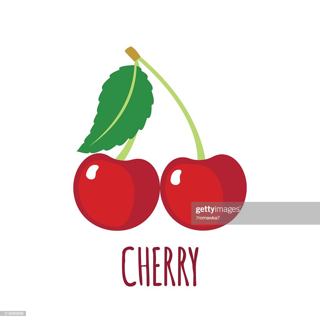 Cherry icon in flat style on white background