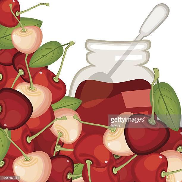 cherry  jam - marmalade stock illustrations, clip art, cartoons, & icons