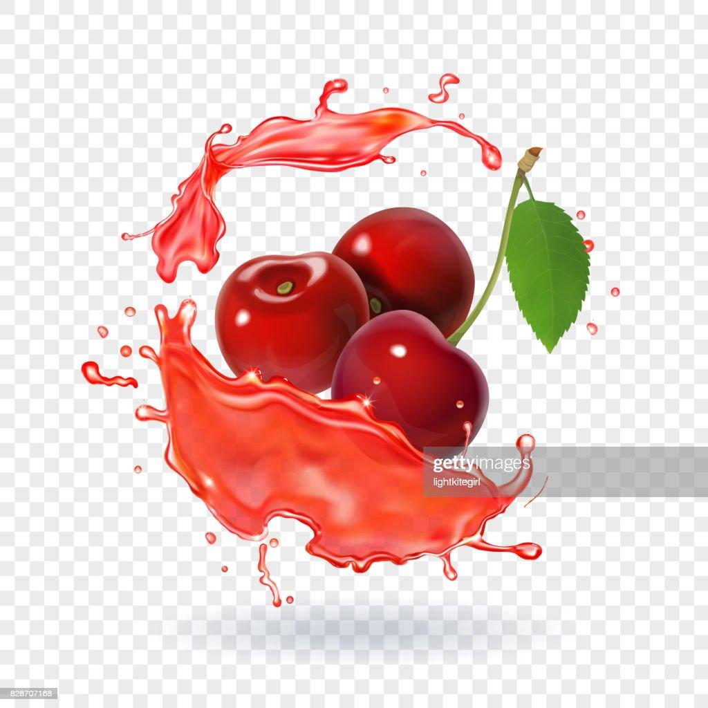 Cherry juice Realistic fresh berry fruit splash of juice