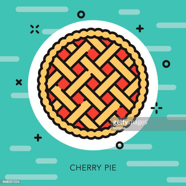 cherry pie open outline baking icon - pastry lattice stock illustrations, clip art, cartoons, & icons