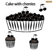 Cherry pie. Pie with berries. Black icon. Cake with cherries. Berry pie. Dessert. Bakery, bakery products, confectionery. Vector illustration.
