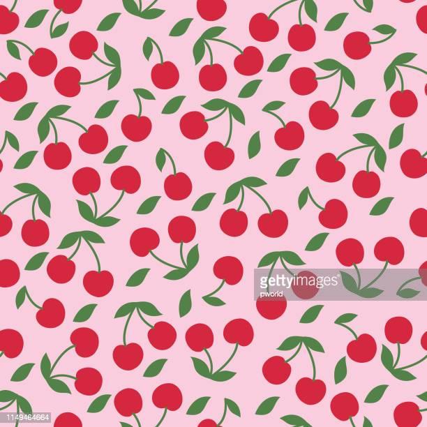 cherry seamless pattern . - cherry stock illustrations