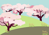 Cherry tree background. Spring landscape. Spring clip art. Image of cherry tree and spring field.
