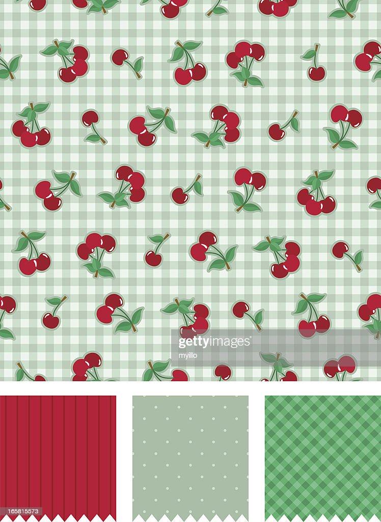Cherry Vintage Pattern Vector Art