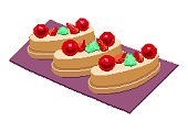 Cherry with strawberry Cake. Colorful sweet cakes slices pieces set vector illustration. Pixel art illustration