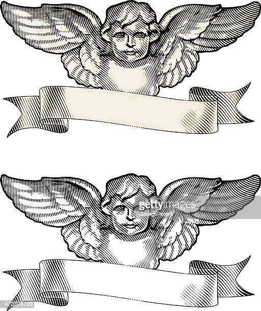 Querubín ángel y Banner de grabado