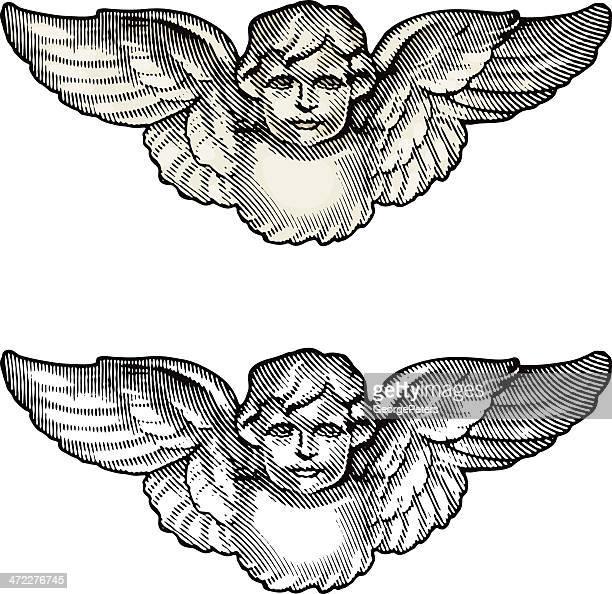 cherub angel engraving - cherub stock illustrations