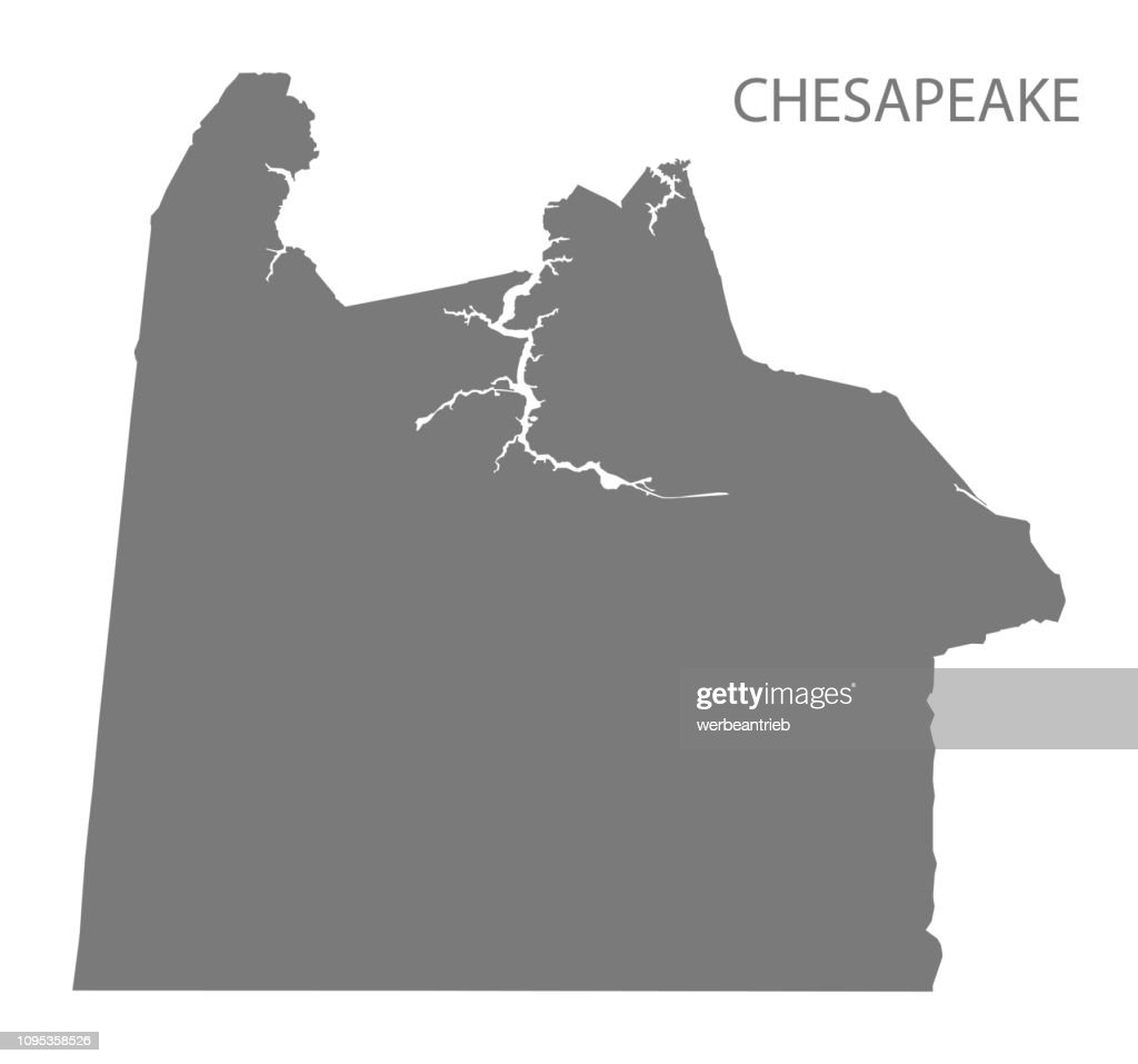 Chesapeake Virginia city map grey illustration silhouette shape