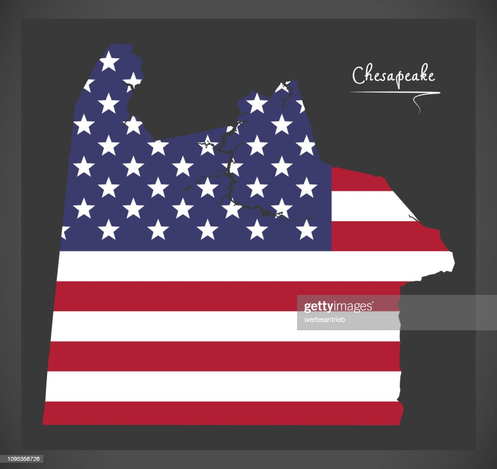Chesapeake Virginia City map with American national flag illustration