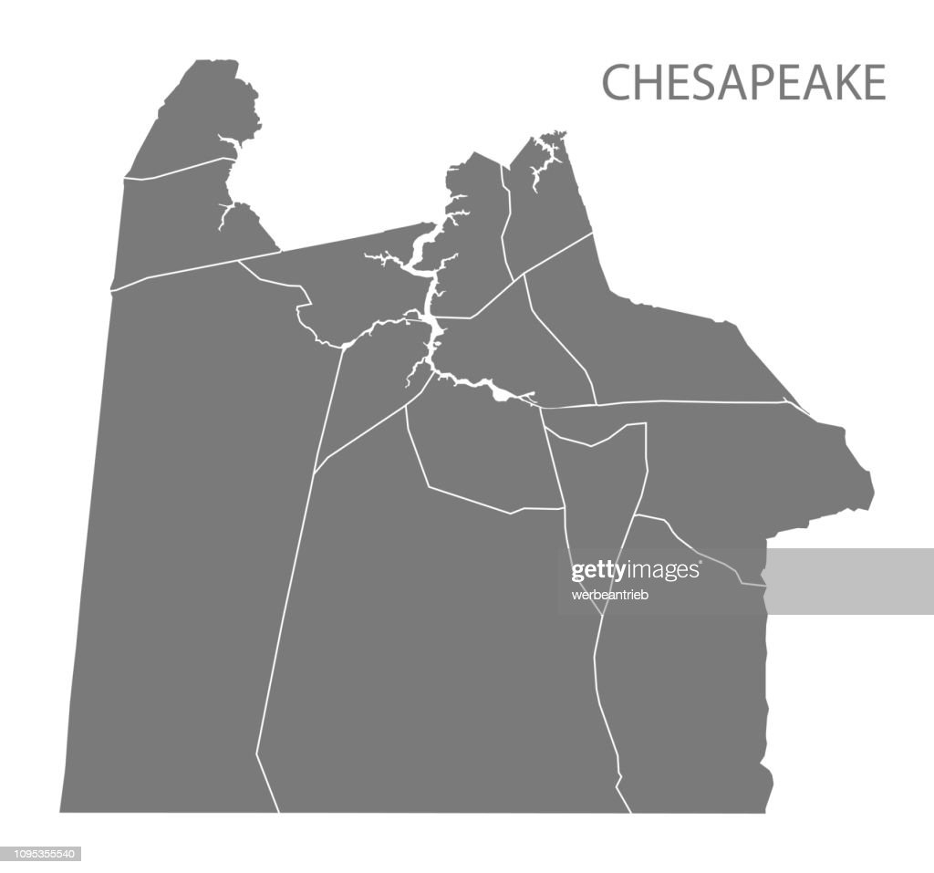 Chesapeake Virginia city map with neighborhoods grey illustration silhouette shape