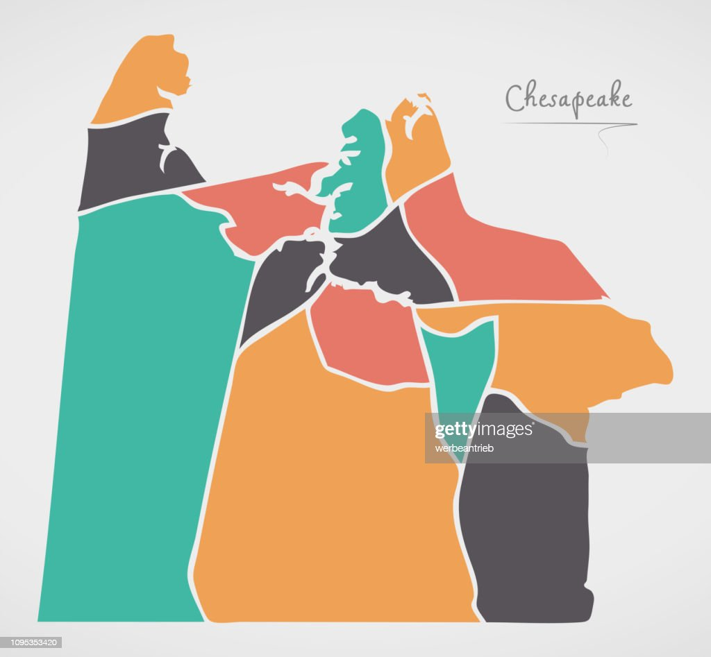 Chesapeake Virginia Map with neighborhoods and modern round shapes