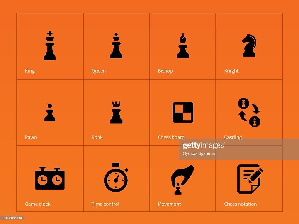 Chess Figures icons on orange background