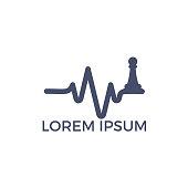 Chess heartbeat vector logo design. Chess and pulse logo concept.