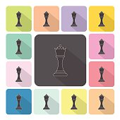 Chess Icon color set vector illustration
