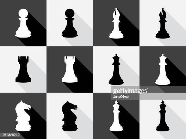 chess icon set - chess stock illustrations