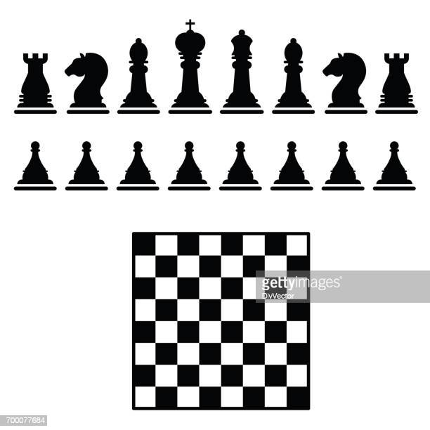 chess icons - chess board stock illustrations