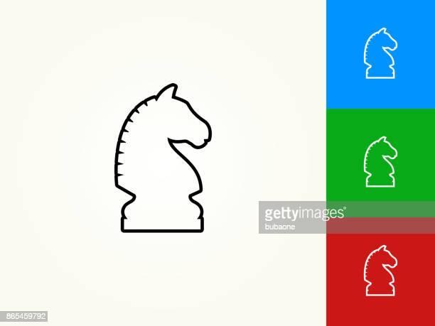 Chess Knight Black Stroke Linear Icon