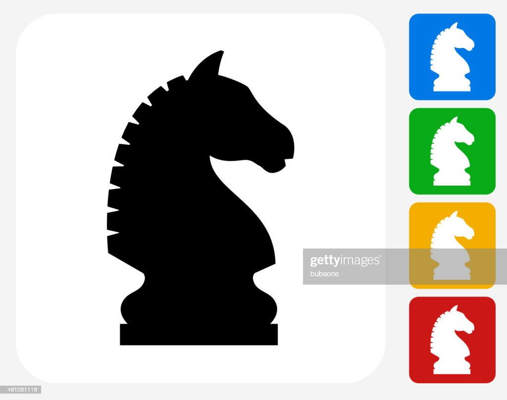 Chess Knight Icon Flat Graphic Design
