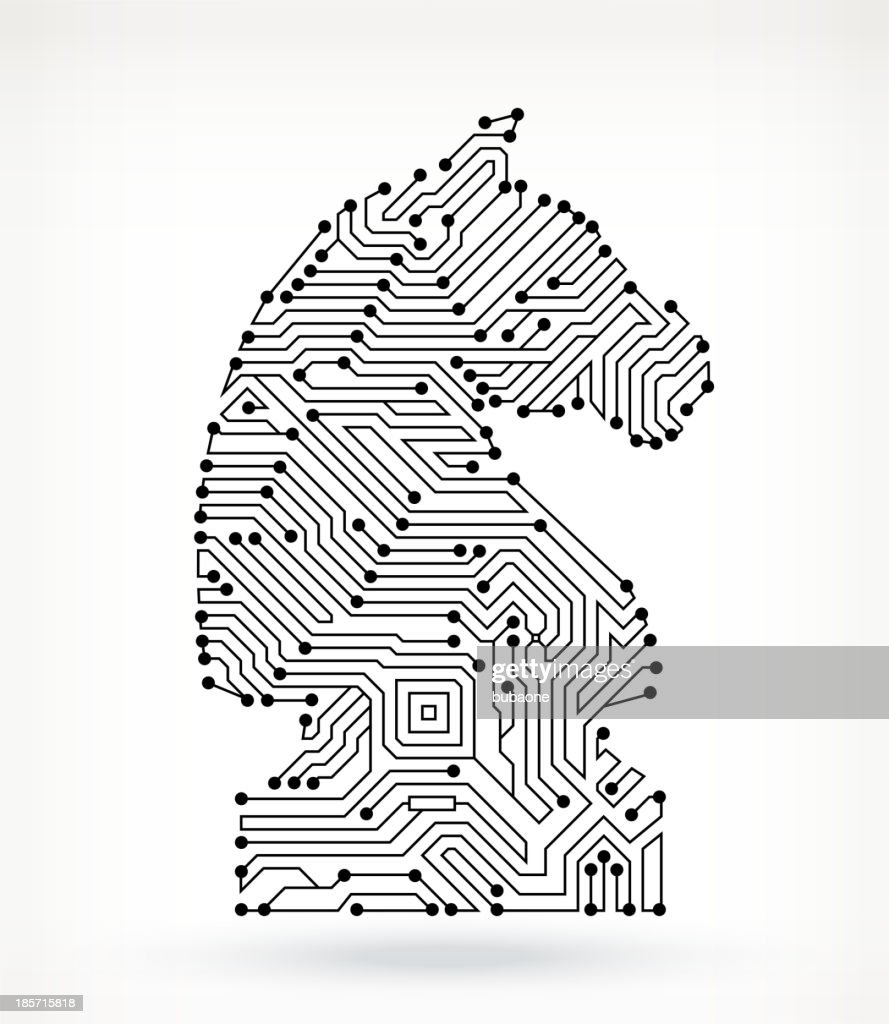Chess Knight Piece On Circuit Board Vector Art   Getty Images