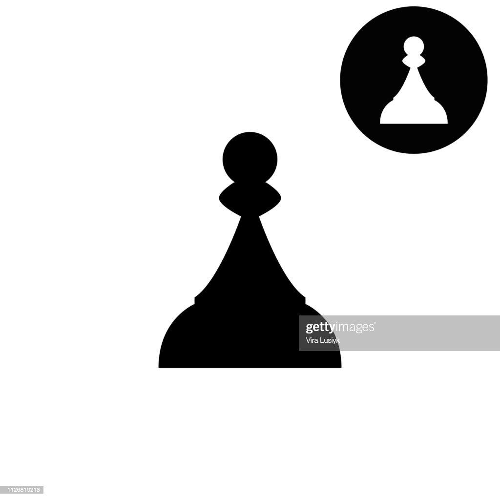 Chess Pawn  - white vector icon