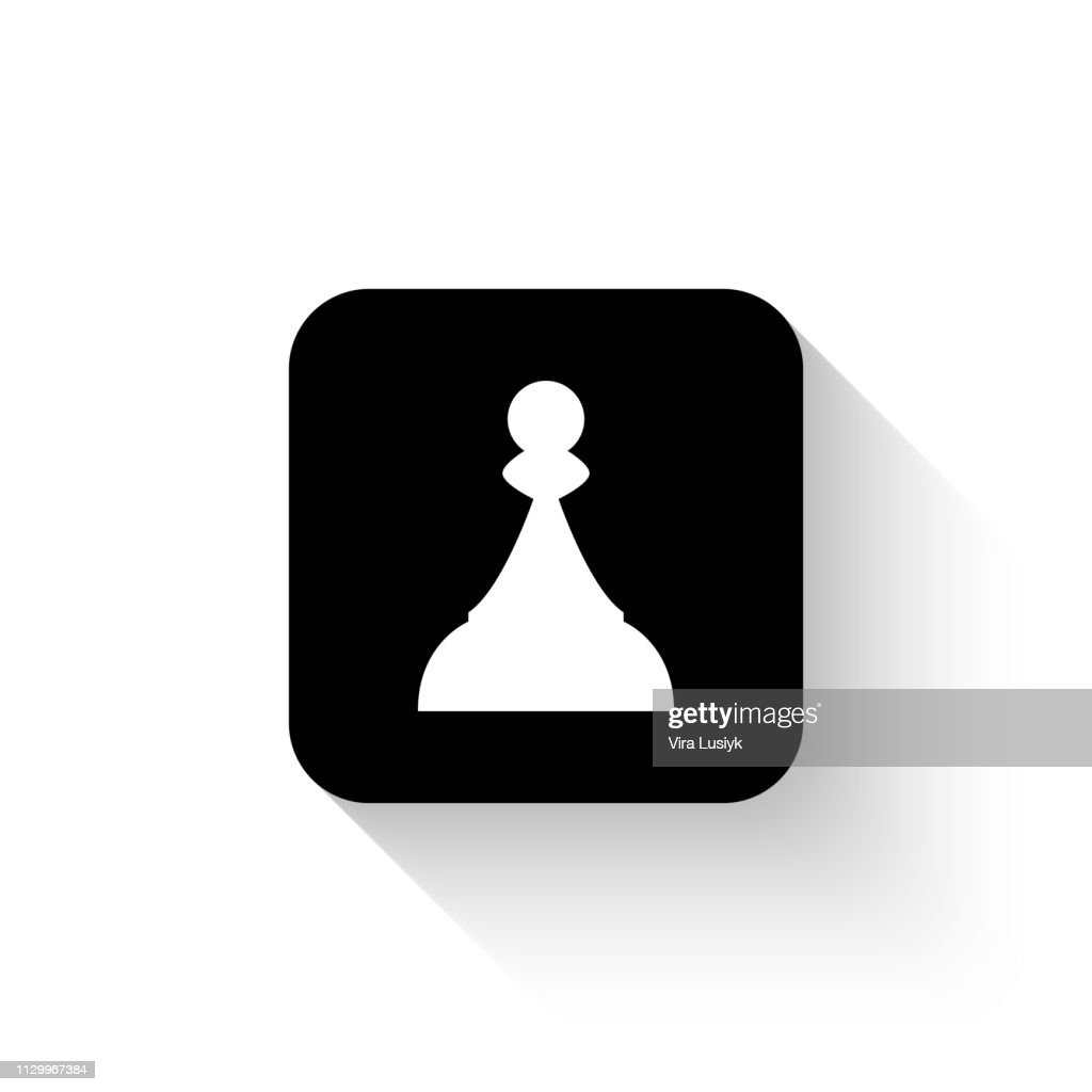 Chess Pawn - white vector  icon with shadow