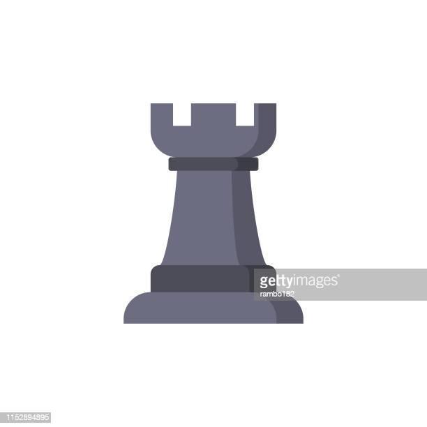 ilustraciones, imágenes clip art, dibujos animados e iconos de stock de pieza de ajedrez, pieza de torre icono plano. pixel perfect. para móvil y web. - tablero de ajedrez