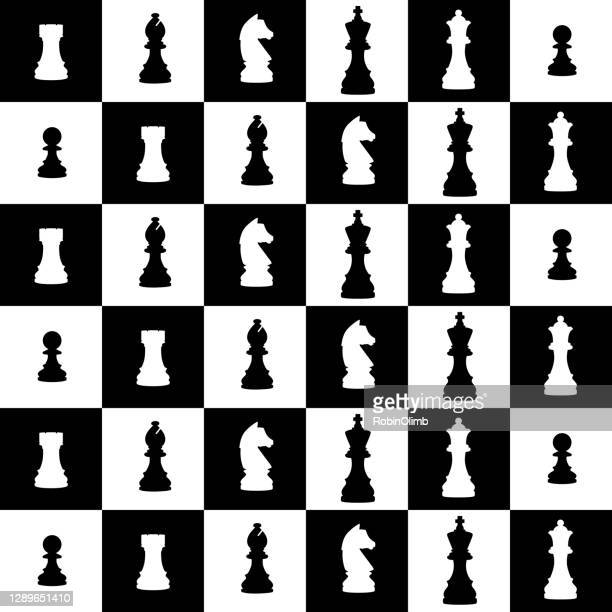 chess pieces and board seamless pattern - chess board stock illustrations